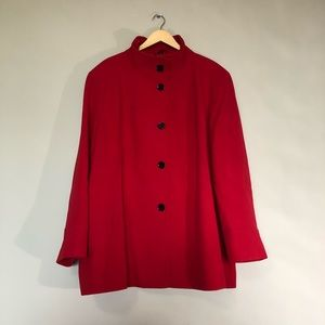 Nuage Red Plus Size Stand Collar Coat Sz 3X